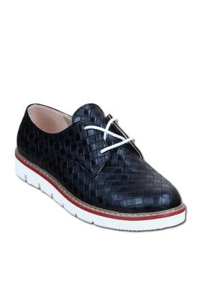 Markazen Baklava Desenli Oxford Ayakkabı - Siyah