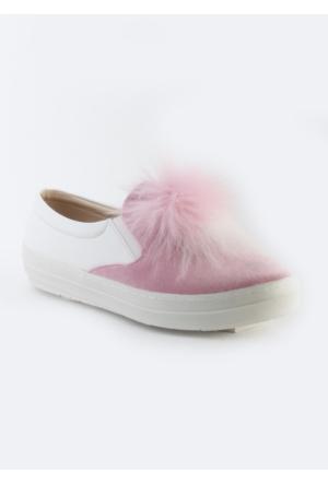 Markazen Tüylü Babet Ayakkabı - Pembe