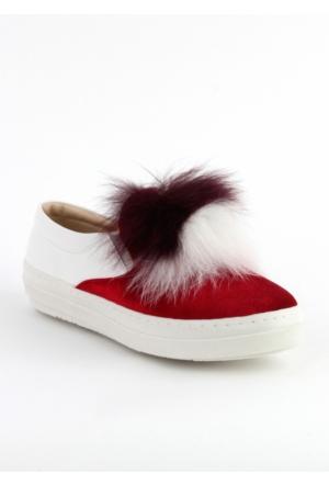 Markazen Tüylü Babet Ayakkabı - Bordo