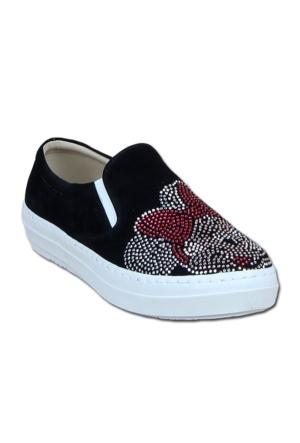 Markazen Taş İşlemeli Bantlı Babet Ayakkabı - Siyah