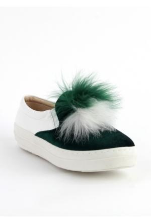 Markazen Tüylü Babet Ayakkabı - Yeşil
