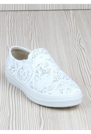 Markazen Simli Dantelli Bayan Babet Ayakkabı - Beyaz 01