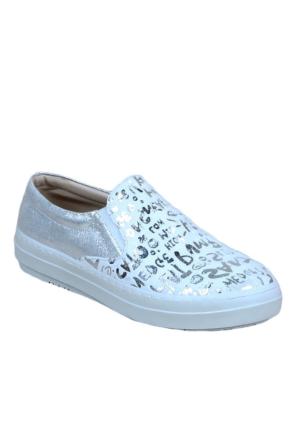 Markazen Yazı Desenli Babet Ayakkabı - Gri