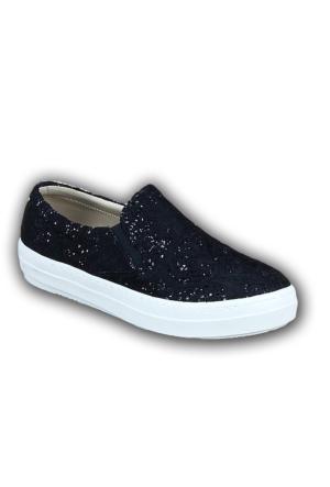 Markazen Simli Dantelli Bayan Babet Ayakkabı - Siyah