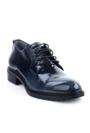Markazen Oxford Rugan Desenli Ayakkabı - Lacivert Siyah