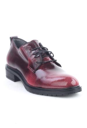 Markazen Oxford Rugan Desenli Ayakkabı - Kırmızı Siyah