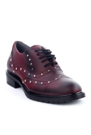 Markazen Trop Desenli Oxford Ayakkabı- Bordo