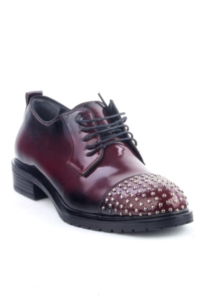 Markazen Burnu Trop Desenli Oxford Ayakkabı - Bordo