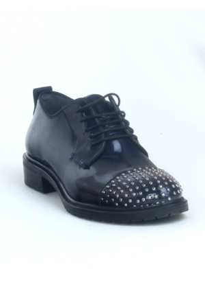 Markazen Burnu Trop Desenli Oxford Ayakkabı - Lacivert