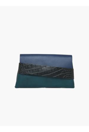 Roman Siyah Deri Detaylı Mavi-Yeşil Clutch