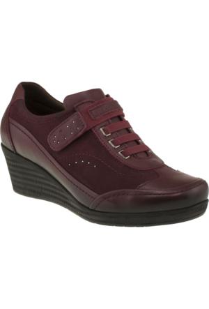 Forelli 10117 Tek Cırt Comfort Bordo Kadın Ayakkabı