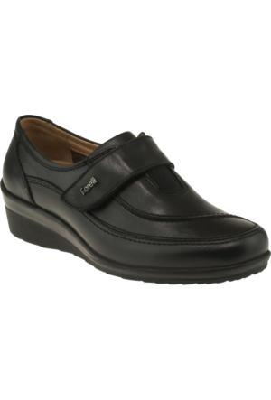 Forelli 26216 Tek Cırt Comfort Siyah Kadın Ayakkabı