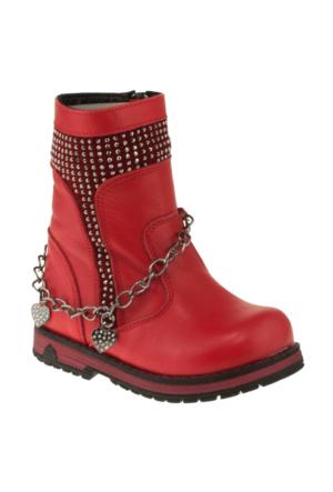 Perlina 300 Taşlı Kırmızı Çocuk Çizme