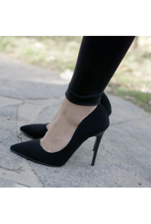 İnce Topuk Siyah Süet Stiletto