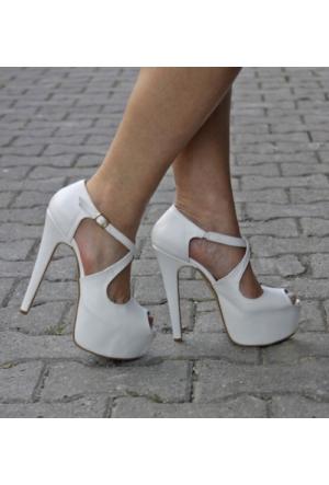İnce Topuk Beyaz Deri Platform Ayakkabı