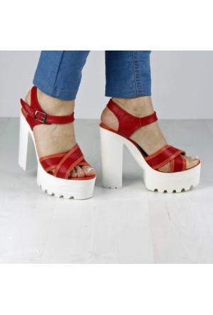 İnce Topuk Kırmızı Platform Ayakkabı
