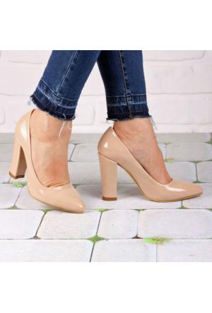 İnce Topuk Bej Rugan Kalın Topuklu Stiletto