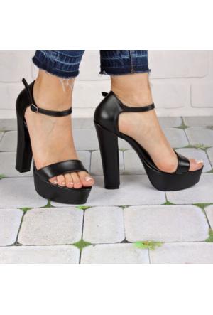 İnce Topuk Siyah Kalın Topuklu Platform Ayakkabı