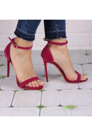 İnce Topuk Fuşya Süet İnce Bantlı Topuklu Ayakkabı