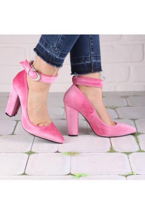 İnce Topuk Pembe Kadife Kalın Topuklu Ayakkabı