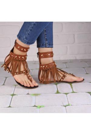 İnce Topuk Taba Püsküllü Sandalet