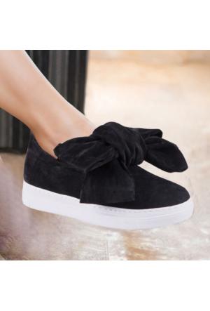 İnce Topuk Siyah Süet Büyük Fiyonklu Sneaker Ayakkabı