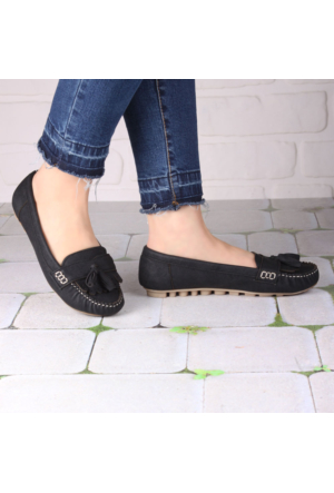 İnce Topuk Siyah Püsküllü Rok Ayakkabı