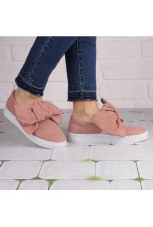 İnce Topuk Pudra Süet Büyük Fiyonklu Sneaker Ayakkabı