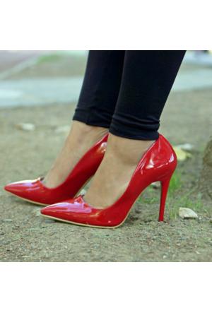 İnce Topuk Kırmızı Rugan Stiletto