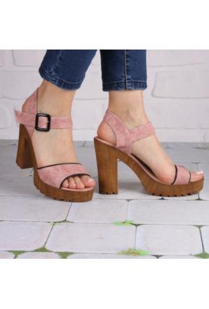 İnce Topuk Pudra Kalın Topuklu Ayakkabı