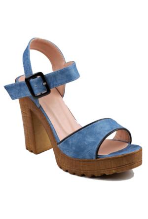 İnce Topuk Kot Mavisi Kalın Topuklu Ayakkabı