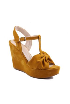 İnce Topuk Hardal Süet Dolgu Topuk Ayakkabı