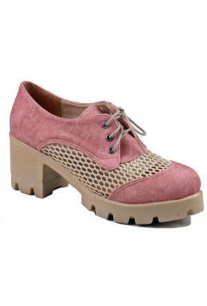 İnce Topuk Pudra Kısa Topuklu Ayakkabı