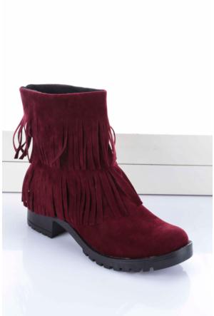 Shoes&Moda Kadın Bayan Bot Bordo
