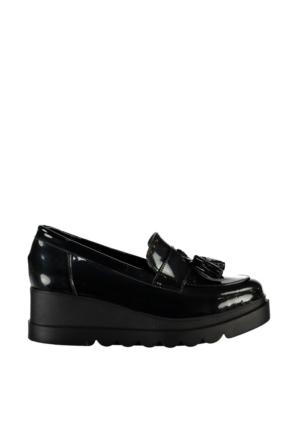 Pembe Potin Siyah Rugan Ayakkabı