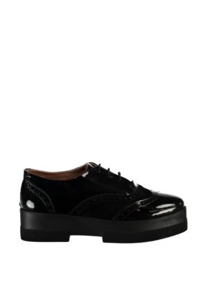 Pembe Potin Siyah Rugan Siyah Süet Ayakkabı