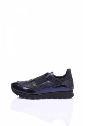 Camore Koyu Mavi Metalik Deri Çiçek Baskılı Bayan Sneaker