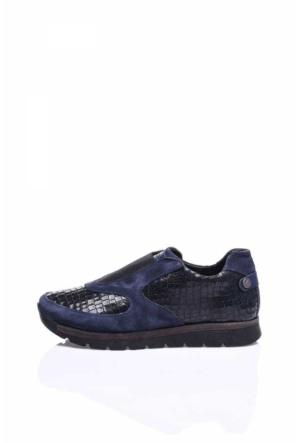 Camore Navy Mavi Yılan Derisi Süet Spor Bayan Sneaker Ayakkabı