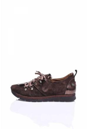 Camore Bronz Detaylı Kahverengi Süet Bayan Sneaker Ayakkabı