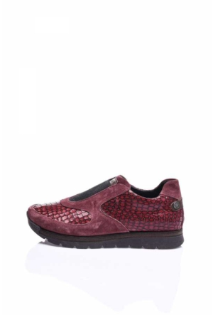 Camore Bordo Yılan Derisi Süet Spor Bayan Sneaker Ayakkabı
