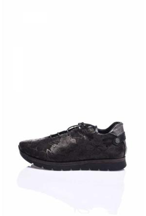 Camore Metalik Siyah Süet Çiçek Baskılı Sneaker Ayakkabı