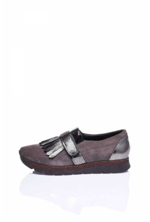 Camore Gümüş Metalik Gri Süet Püsküllü Sneaker Ayakkabı