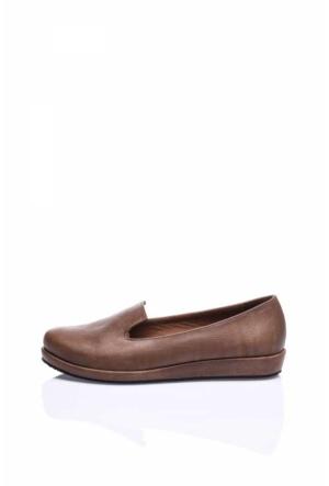 Camore Açık Kahverengi Deri Loafer Bayan Ayakkabı