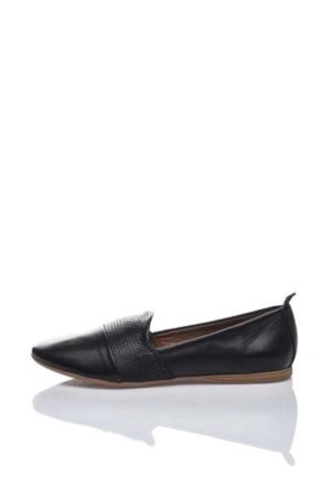 Bueno Siyah Deri Comfort Babet Ayakkabı