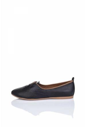 Bueno Siyah Deri Cutout Babet Ayakkabı