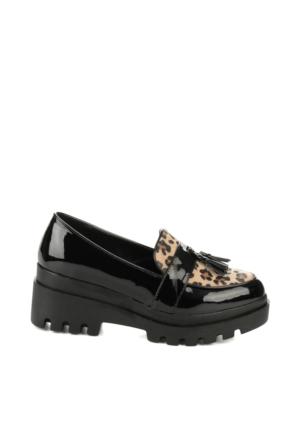 Bambi 4805 Z K 16 No Rpt Bayan Zenne Ayakkabı Siyah - Leopar