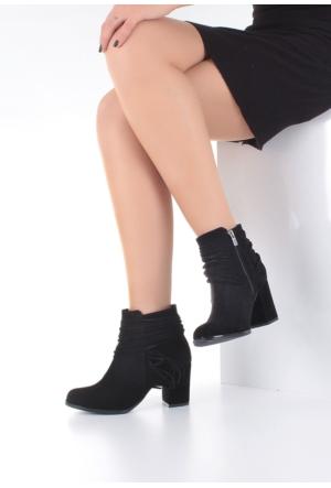 Erbilden Erb Siyah Süet Püsküllü Topuklu Bayan Bot