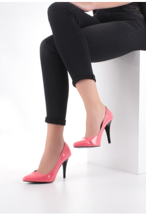 Erbilden Erb Fuşya Rugan Yan Kesim Bayan Stiletto Ayakkabı