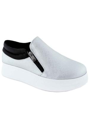 Ottımo 416 Kalın Taban Günlük Kadın Ayakkabı Gümüş