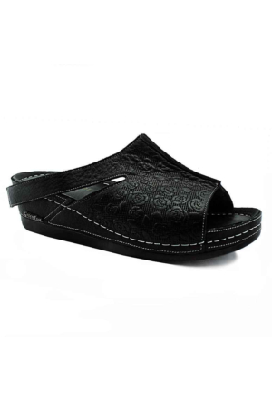 Green Foot 1007 Deri Dolgu Topuk Kadın Terlik Siyah